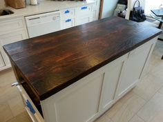 Reclaimed Wood Countertop Dark Walnut I want to use my attic floor boards and do this for my new kitchen island