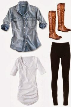 Casual cute look. Leggings, white top, denim button up. Get the look.