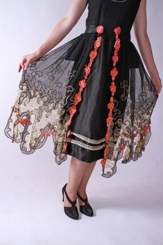 Exquisite Vintage 1920s Silk Satin, Chiffon and Lace Flapper Party Dress with Panniers and Handtied Flowers - the skirt. New at Fab Gabs