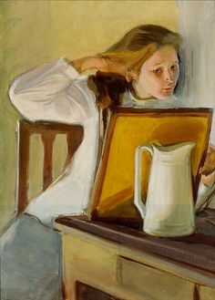 Girl combs her hair / Girl combing in front of the mirror - Magnus Enckell 1902 Finnish painter 1870-1925