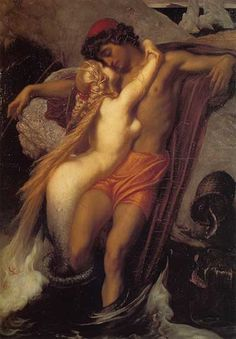 The Fisherman and the Siren, Fredric, Lord Leighton - More Art, oil paintings on canvas.