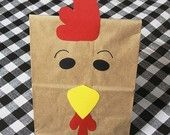 Rooster Treat Sacks - Farm Chicken Barnyard Country Theme Birthday Party Favor Goodie Bags  by jettabees on Etsy