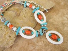 Boho+Necklace+Turquoise+and+Orange+Coral++Statement+by+BohoStyleMe,+$78.00