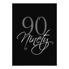 Formal Black Gray 90th Birthday Invitation