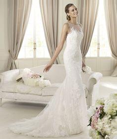 """Pronovias """"Distel"""" - Fashion 2013 Collection - sheer bateau neckline, floral lace"""