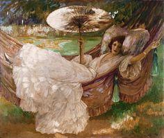 John Lavery (Irish painter, 1856-1941) Red Hammock