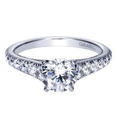 14k White Gold Diamond Straight Engagement Ring | Gabriel & Co NY | ER8259W44JJ