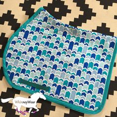 Blue geometric English saddle pad by WhinneyWear