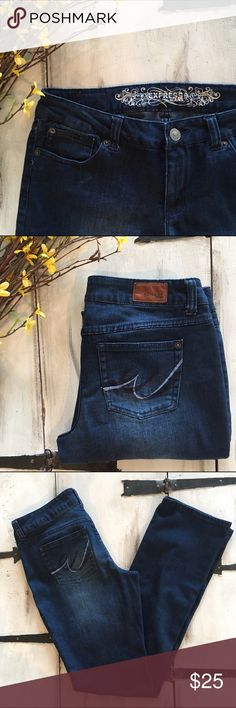 {Express} Bootcut Jeans These jeans are a rich, deep blue color and are a great basic!  They are labeled a 4, but they fit like a 6 and have lots of stretch.  Super comfortable!  EUC.  79% Cotton, 19% Polyester, 2% Spandex. Express Jeans Boot Cut