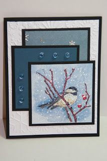 handmade card from  My Creative Corner! ... wintertime theme ... adoraable imaage of a bird in a leafless tree with snow falling ...  great layout too ...