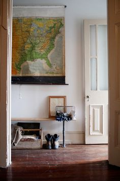 Old school map as decor. Source link doesn't take you to the right page, but you get the idea.