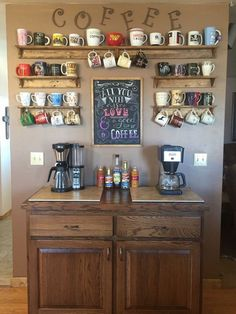Create a DIY Coffee Bar in your home. Inspired by coffee shops, this DIY coffee bar is the perfect addition to any coffee lover's home. Click through to see how to build it plus, free plans to build your own just like this one! Coffee Nook, Coffee Bar Home, Coffee Wine, Coffee Corner, Coffee Cup Storage, Mug Storage, Coffee Theme Kitchen, Coffee Mug Display, Coffee Drinks
