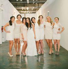 white/off white bridesmaid dresses
