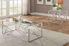NEW MODERN ALEXIS 3PC METAL CHROME GLASS TOP LIVING ROOM COFFEE END TABLE SET #Poundex