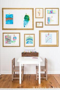Displaying Kids Artwork, Artwork Display, Display Wall, Display Ideas, Hang Kids Artwork, Art Wall Kids, Art For Kids, Childrens Art Display, Display Kids Art