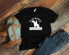 Trail Riding, My Kind of Happy Hour - Trail Rider Quote Shirt for Western Horseback Riding, Gift for Horse Lover Equestrian Boots, Equestrian Outfits, Equestrian Style, Equestrian Fashion, Rider Quotes, Trail Riding, Horse Riding, Riding Gear, Horse Shirt