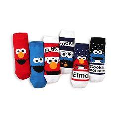 Price: $14.90 (6pairs) & FREE Returns Choice Sesame Street Licensed Socks Elmo Funny Casual (Low cut socks)