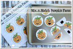 fun busy bag! Mix-n-Match Pumpkin Faces | Mama Miss #freeprintable #pumpkin #busybag #toddlertoys