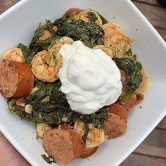 👨🔧👩🔧If you don't know how to start ketodiet properly or do you want to lose possibly lbs in the first week alone with ketolifestyle ? ➡️ That's your choice! - Shrimp, smoked sausage, spinach, and sour cream. Ketogenic Recipes, Ketogenic Diet, Diet Recipes, Healthy Recipes, Healthy Diet Plans, Keto Meal Plan, Healthy Eating, Are You Serious, Keto Diet For Beginners