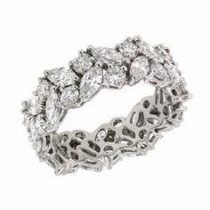 Platinum Marquise And Round Cut Diamond Wedding Band