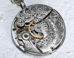 Steampunk Necklace - Incredible GUILLOCHE ETCHED Pocket Watch Movement | TimeInFantasy - Jewelry on ArtFire