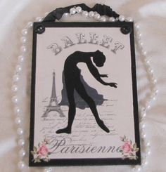 Paris Ballet Eiffel Tower French Decor Pink Roses by Artisanbella, $8.00