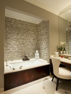 """Tiled Bathtub Surround Design - The title is a little """"busy"""" but I like the framed in look."""