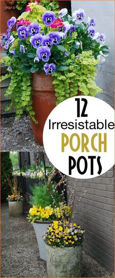 Beautiful porch pots for any occasion. Decorate your patio or porch with stunning flower arrangements in all different sizes and colors of pots. Spring flower containers for a delightful porch. Tips and tricks to planting and maintaining outdoor pots.