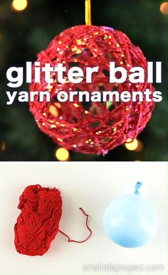 These glitter ball yarn ornaments using balloons are so PRETTY and they're so much fun to make! This is such a fun Christmas craft and a great way to make homemade Christmas ornaments. Christmas Ornament Crafts, Christmas Fun, Holiday Crafts, Beautiful Christmas, Glitter Ornaments, Glitter Crafts, Diy Ornaments, Crafts For Christmas Decorations, Christmas Crafts For Kids To Make At School