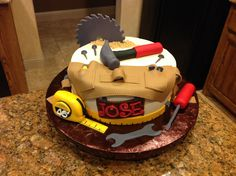 Tool cake with handmade fondant tools!