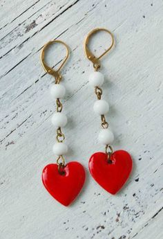 All My LOVE EARRINGS Red Heart White Glass