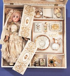 "Presentation Box ""Mariage"" with Bisque Doll and Trousseau"