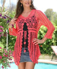 Another great find on #zulily! Coral Crocheted Tie-Waist Cardigan by Ananda's Collection #zulilyfinds