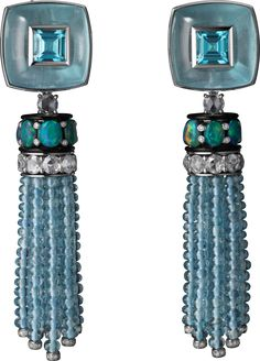 CARTIER Étourdissant Collection earrings: platinum, tourmalines, aquamarines, opals, black lacquer, diamonds