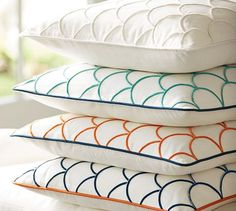 Check off a few necessities for your pillow mix. This pattern is easy to layer, detailed with fine embroidery for texture and available in a range of colors to fit your palette. Florida Home, Pottery Barn, Pillow Covers, Bed Pillows, Pattern, Color, Beach, House, Pillows
