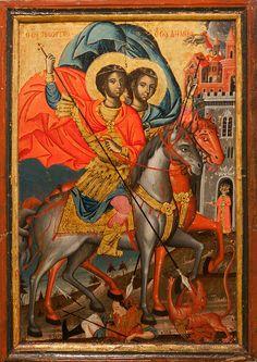 varvar.ru: Святые Георгий и Димитрий. Албанская икона. Тирана, Музей современного искусстварана, Музей современного искусства