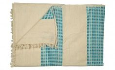 natural and turquoise throw