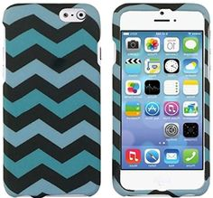 """myLife Pepper Black + Cerulean Blue {Zig-Zag Chevron Lines} 2 Piece Snap-On Rubberized Protective Faceplate Case for the NEW iPhone 6 (6G) 6th Generation Phone by Apple, 4.7"""" Screen Version """"All Ports Accessible"""" myLife Brand Products http://www.amazon.com/dp/B00U1WF8NQ/ref=cm_sw_r_pi_dp_DVxhvb1QG4BNZ"""