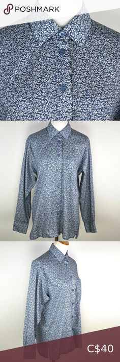 """Liberty of London Ditsy Blue Floral Button Shirt Liberty of London for Tilley Endurables  'Blue Pepper' Tana Lawn Cotton Made in 🇨🇦  Gently loved. Only minuscule flaw to note is the 'M' tag on the inside has been snipped at the corner, otherwise great!  Pit to pit: 20"""" Length: 27"""" Liberty of London Tops Button Down Shirts Liberty Of London, London Blue, Plus Fashion, Fashion Tips, Fashion Trends, Ditsy, Colorful Shirts, Lawn, Pepper"""