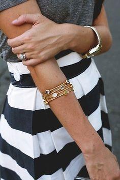 black and white skirt. So cute.