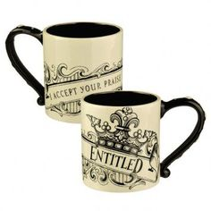 Entitled - Black and cream scroll coffee mug
