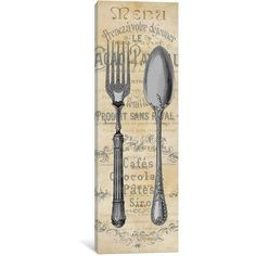 """East Urban Home 'Cuisine I' Vintage Advertisement on Wrapped Canvas Size: 36"""" H x 12"""" W x 1.5"""" D"""