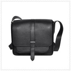 Hermes Jypsiere Men's Togo Leather Messenger Bag Black
