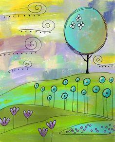 ORIGINAL 8 x 10 Painting Whimsical Landscape - Kisbit (former Etsy seller)