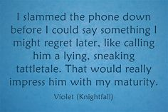 I slammed the phone down before I could say something I might regret later, like calling him a lying, sneaking tattletale. That would really impress him with my maturity.