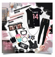 """""""""""What are we going to do? I'll fight until I find myself"""""""" by katlanacross ❤ liked on Polyvore featuring Cotton Candy, Avery, Balmain, Demonia, The Rogue + The Wolf, Kat Von D and Hot Topic"""