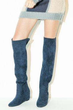 MiiA フェイクスエードインヒールニーハイブーツ / knee height boots on ShopStyle