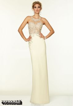 Edgy Paparazzi - This gown is glamorous!  In-store in Ivory, size 6.   #eogowns  #prom2015  #promdress  #sexy  #edgy  #formalgown  #paparazzi