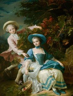 The Prince de Guemenee and Mademoiselle de Soubise Dressed as Grape Harvesters by francois hubert drouais Victorian Paintings, Victorian Art, Victorian Bedroom, Rococo Painting, Jean Antoine Watteau, Tableaux Vivants, Rococo Fashion, Architecture Tattoo, Old Paintings
