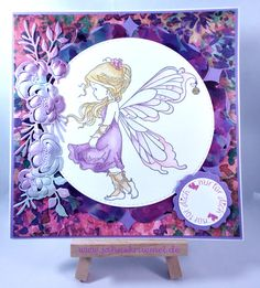 "Greeting card using ""Silver Fairy"" Whimsy Stamps; Designerpaper ""Wild Flower"" First Edition; ""XXL Nest-lies Double Stitched Circles No 33"" Crealies; Sentiment ""Nur für Dich"" Iris-istible; ""Flower border/Blütenranken"" Studiolight; colored with TwinklingsH2O"